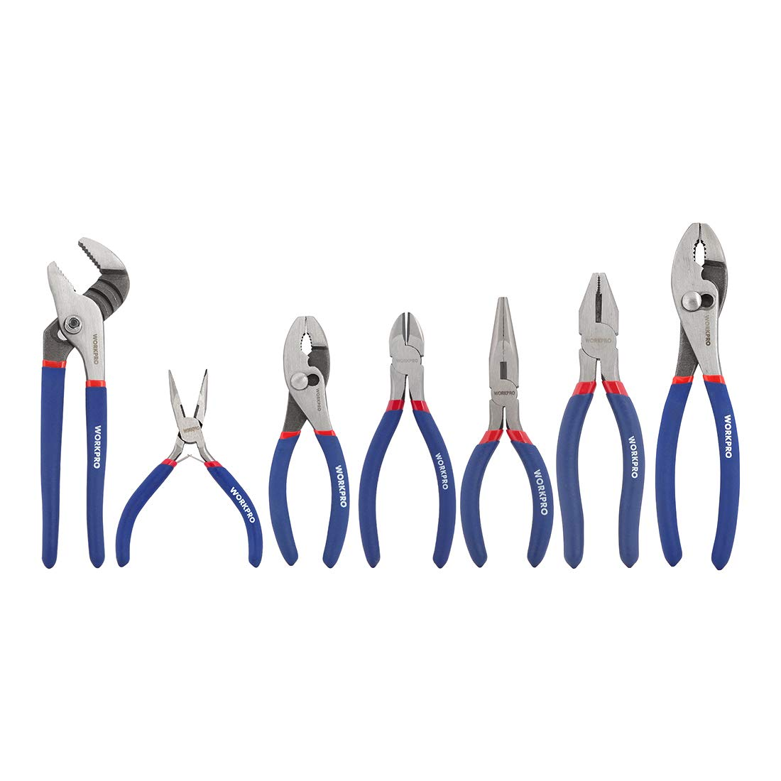 WORKPRO 7-piece Pliers Set (8-inch Groove Joint Pliers, 6-inch Long Nose, 6-inch Slip Joint, 4-1/2 Inch Long Nose, 6-inch Diagonal, 7-inch Linesman, 8-inch Slip Joint) for DIY & Home Use by WORKPRO
