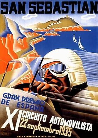San Sebastian Vintage Motor racing Advertising Poster reproduction.