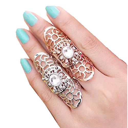 WIIPU 2pcs/lot Hollow Flower Rhinestone Full Finger Armor Finger Rings ()