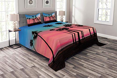 Lohebhuic Palm Tree Coverlet Set Queen Size, Tree Rows in Santa Barbara USA American Holiday Destination Dreamy Heaven Dawn, Decorative Quilted 3 Piece Bedspread Set with 2 Pillow Shams, Pink Blue