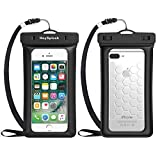 Floating Waterproof Phone Case, HeySplash Universal Underwater TPU Cellphone Dry Bag Pouch for iPhone X/8 Plus/8/7/6s Plus, Samsung Note 8/S8+, Perfect for Kayaking Swimming Skiing Beach - BLACK