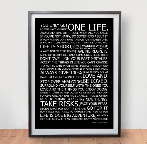 Life Manifesto Poster – In Black – Motivational Quote Wall Art Picture Print – Size A2 (420 X 594mm)