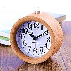 Small Bedroom Silent Alarm Clock,TOPBRIGHT Creative Handmade Wooden Clock Travel Clock, Nightlight,Luminos hands,Snooze,No Ticking,Battery Power