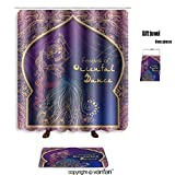 vanfan bath sets Polyester rugs shower curtain ornament beautiful card girl belly dance shower curtains sets bathroom 69 x 84 inches&31.5 x 19.7 inches(Free 1 towel 12 hooks)