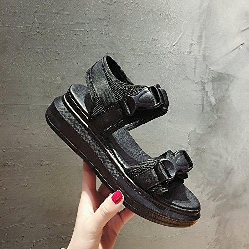 mujer estilo romanos punta Estudiante de aire abierta rápido libre Informal Zapatos con negro Sandalias al Secado de Harajuku verano SOHOEOS Nuevo planas plataforma gruesa Deportes Ligero qnwXE08na