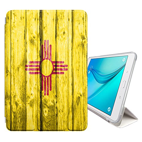FJCases New Mexico The Land of Enchantment Wood Pattern Flag Cover Stand + Back Case with Auto Sleep/Wake for Samsung Galaxy Tab E Lite 7