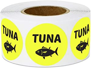 300 Labels - Tuna Stickers for Fish Markets, Delis, Restaurants, Supermarkets or Food Labeling (1 inch, Yellow - 1 Roll)