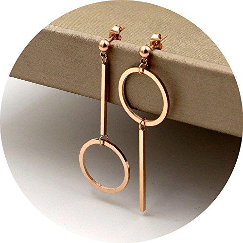 Unique Design Titanium Steel Rose Gold Plated Asymmetry Stick Round Shape Ball Ear Stud Dangle (Titanium Drop)