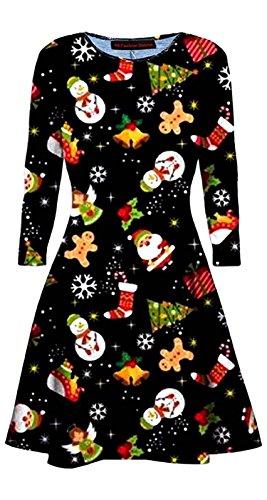 66 Dames De La Mode District Filles Patineur Évasé Bonhomme De Neige Noël Impression Numérique Mini Robe Swing Bonhomme De Neige Flocons De Neige Uk Imprimé Arbre