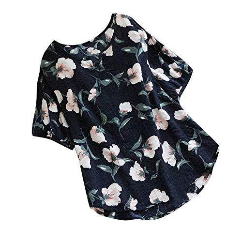 Women's Fashion T-Shirt Jebess Casual V Neck Half Sleeve Vintage Boho Floral Print Tops Loose Blouse Black ()