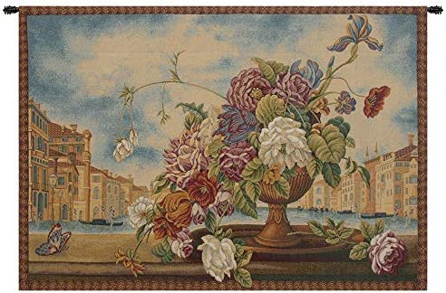 Venice Balcony with Flowers Italian Tapestry Wall Hanging