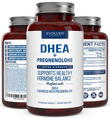 Extra Strength DHEA 100mg Supplement with Pregnenolone 60mg -Supports Hormone Balance, Lean Muscle Mass, Energy, Mood, Sleep, and Healthy Aging in Men and Women ()