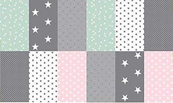 25x35cm blau hellblau grau Punkte Stoffpaket Patchwork Baumwollstoffe 12 x Sterne Rauten Anker P/ünktchen Sterne Stoffe