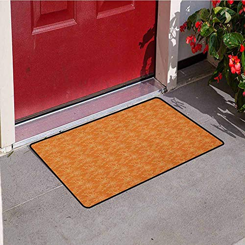 - Gloria Johnson Burnt Orange Universal Door mat Dandelions Poppies and Wildflowers Silhouettes Romantic Garden Art Door mat Floor Decoration W19.7 x L31.5 Inch Burnt Orange and White
