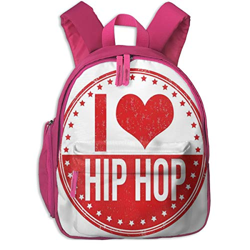 Kids School Backpack for Boys and Girls,I Love Hip Hop Phrase On A Circular Grungy Background With Star Shapes,Kindergarten Preschool Bag,pink