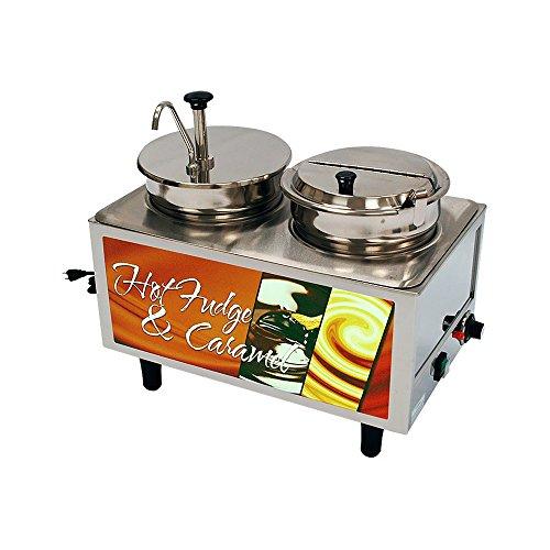 (Benchmark USA 51073H Hot Fudge-Caramel Warmer 1 Pump,1 Lid-Ladle - 2 boxes)