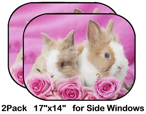 Liili Car Sun Shade for Side Rear Window Blocks UV Ray Sunlight Heat - Protect Baby and Pet - 2 Pack Dwarf Rabbits with Pink Roses Image ID 19918006 ()