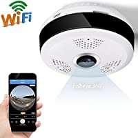 IP Camera 360 Degree Panoramic Fisheye 3D VR Wireless Wifi 2.4GHZ Security Camera Outdoor Super Wide Angle Support IR Night Motion Detection Keep Home Safe (White)