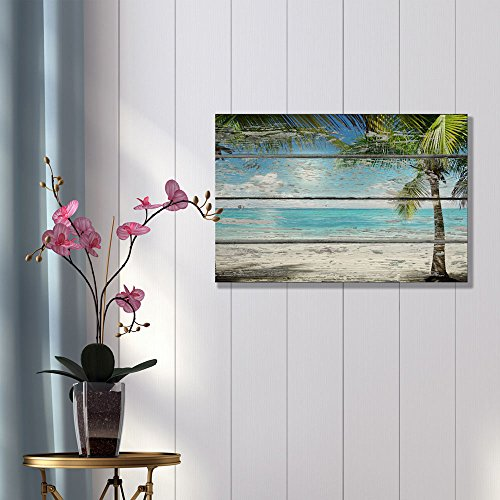 Tropical Beach with Palm Tree on Vintage Wood Background Rustic