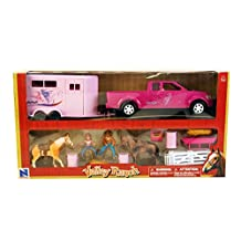1/18 Pink Dually Pickup Truck with Horse Trailer, Horse & Riders by New Ray