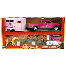 1/18 Pink Dually Pickup Truck with Horse Trailer, Horse & Riders