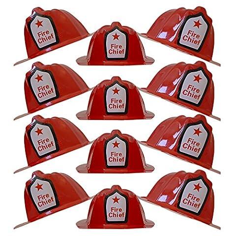 Children Red Firefighter Fire Chief Plastic Hat - Dress Up Costume Fireman Theme Party - Soft Helmet Hat Halloween Prop (12 Pcs. (Fire Chief Birthday)