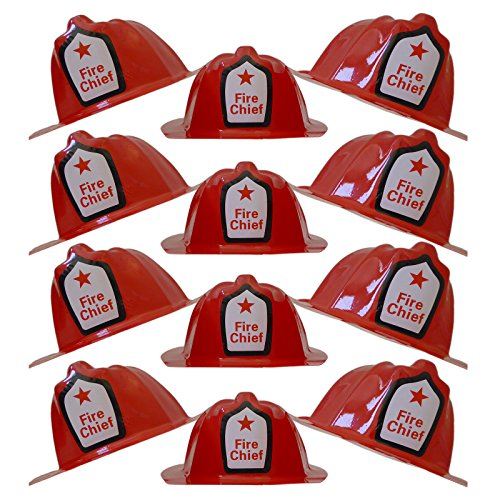 Plastic Fire Hats (Children Red Firefighter Fire Chief Plastic Hat - Dress Up Costume Fireman Theme Party - Soft Helmet Hat Halloween Prop (12 Pcs. Set))