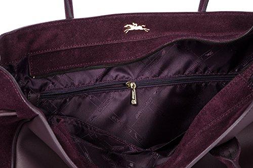 Longchamp purple bag original shoulder leather Longchamp women's women's f6Fypq7zz