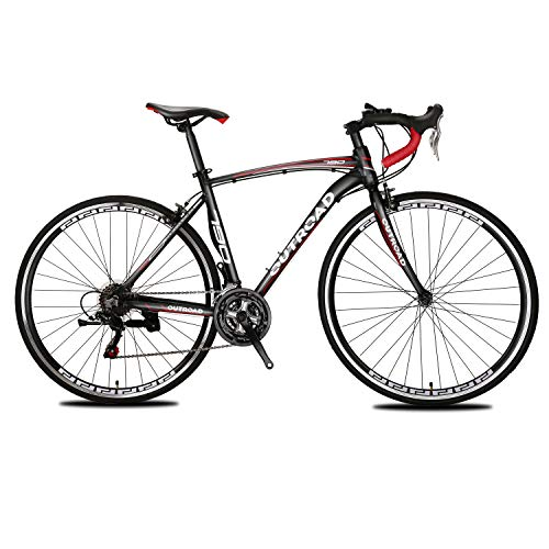 Max4out Road Bike for Men and Women, Featuring 21 Speed Drivetrain, 700C Wheel and Y Brake Suspension Fork Rear Suspension Bicycles Black (Bicycles Trek Racing)