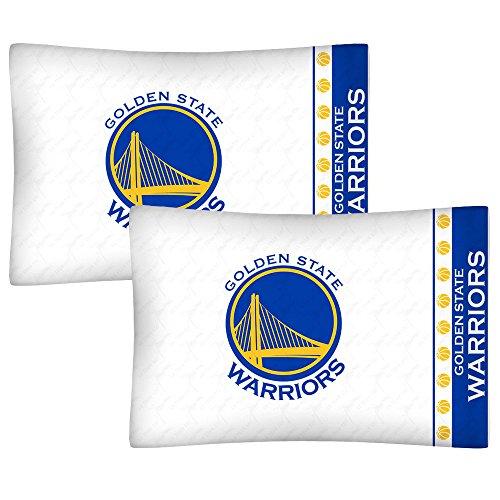 - 2pc NBA Golden State Warriors Pillowcase Set Basketball Team Logo Bedding Pillow Covers