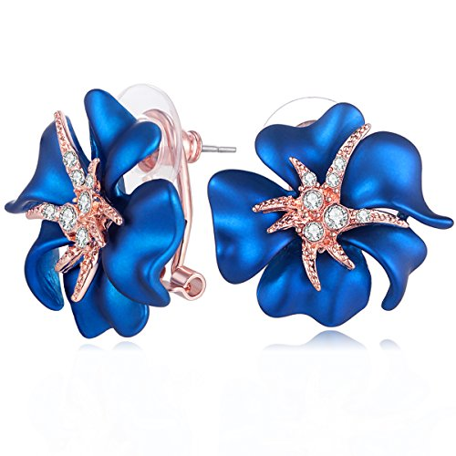 (Carfeny Rose Gold Plated Big Blue Rose Flower Stud Earrings for Women Hypoallergenic With Sparkling Crystal (Bluelover))