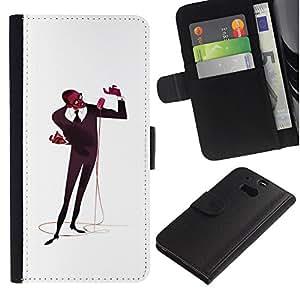 Stuss Case / Funda Carcasa PU de Cuero - Arte micrófono Cantante Hombre Negro Music - HTC One M8