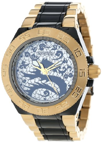 Invicta Men's 11551 Subaqua Sport Black Dragon Dial 18k Gold Ion-Plated Stainless Steel and Black Resin Watch