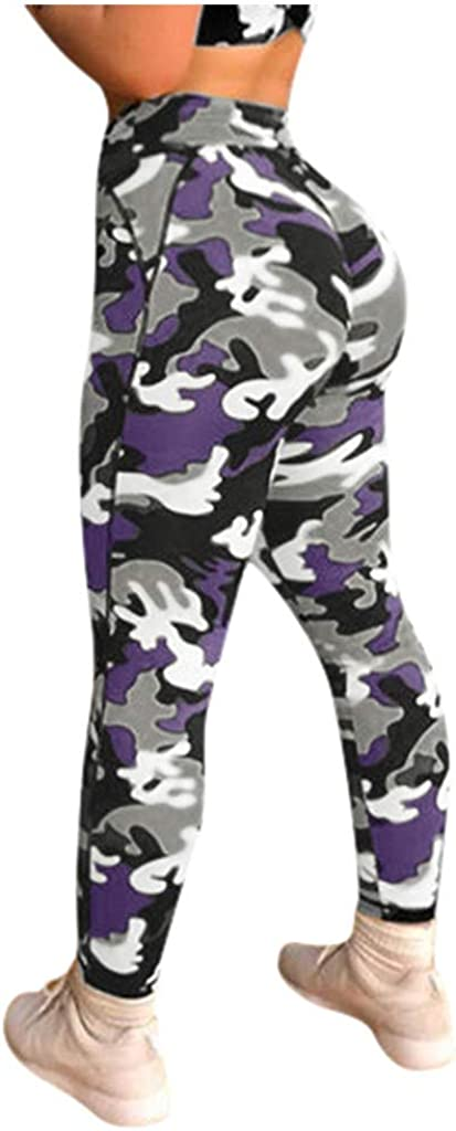 Dainzusyful Womens Camouflage Workout Leggings Fitness Sports Running Yoga Athletic Pants Workout Compression Pants