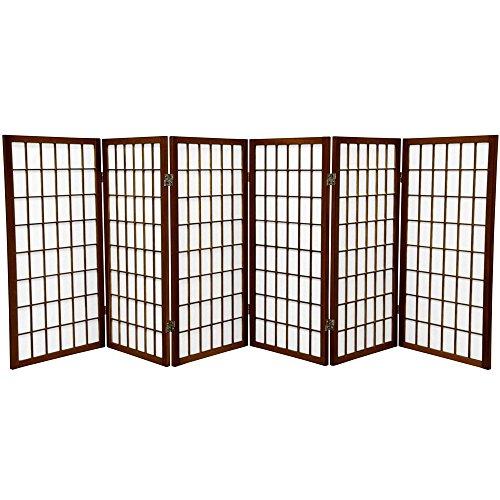 Oriental Furniture 3 ft. Tall Window Pane Shoji Screen - Walnut - 6 Panels