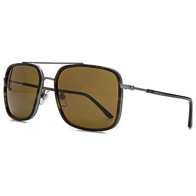 84b39a28405 Giorgio Armani Frames of Life Square Aviator Sunglasses in Matte Gunmetal  Havana AR6031 300383 58 58 Brown  Amazon.co.uk  Clothing