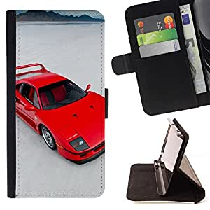 Momo Phone Case / Flip Funda de Cuero Case Cover - Red Sports Car;;;;;;;; - Samsung Galaxy A5 ( A5000 ) 2014 Version