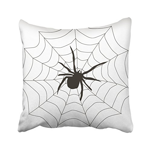 Accrocn Fun Happy Halloween Spider With Web Throw Pillow Covers Cushion Cover Case 20x20 Inches Pillowcases One Sided (Pillow Spider)