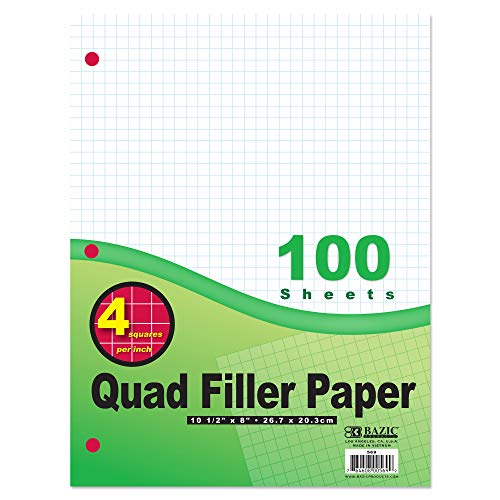BAZIC 100 Sheets 4-1″ Quad-Ruled Filler Paper, 3 Hole Punched, Squares Graph Ruled Lined Filler Papers, for 3-Ring Binders Writing Office College Student Artist, 1-Pack