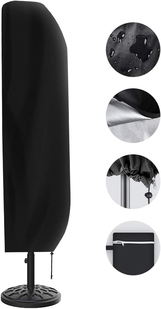 Vakeen Patio Umbrella Cover, Umbrella Covers for Outdoor Offset Umbrellas Durable Waterproof Cantilever Parasol Covers with Zipper, Suitable for 7ft to 11ft Canopy