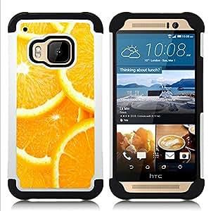 /Skull Market/ - Orange For HTC ONE M9 - 3in1 h????brido prueba de choques de impacto resistente goma Combo pesada cubierta de la caja protec -