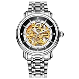 Jiusko 210LSG02 Luxury Mens Skeleton Stainless Steel Dress Watch - 20 Jewel with Gold Dial