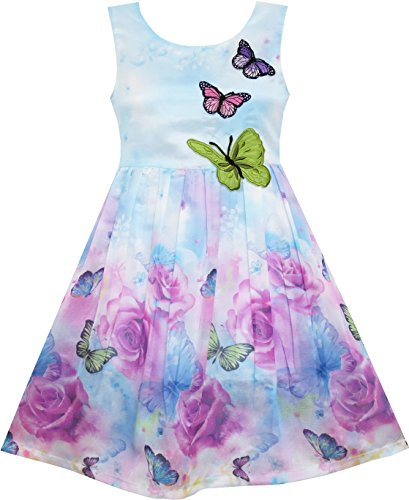 Sunny Fashion HJ24 Girls Dress Rose Flower Print Butterfly Embroidery Purple Size 7
