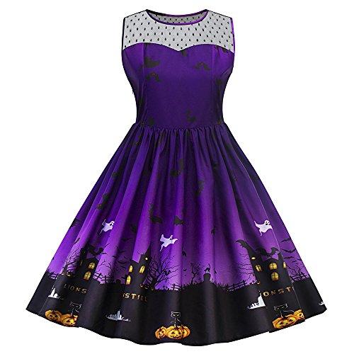 Halloween Illusion (CharMma Women's Vintage Plus Size Illusion Neck Sleeveless Halloween Swing Dress (4XL, Purple))