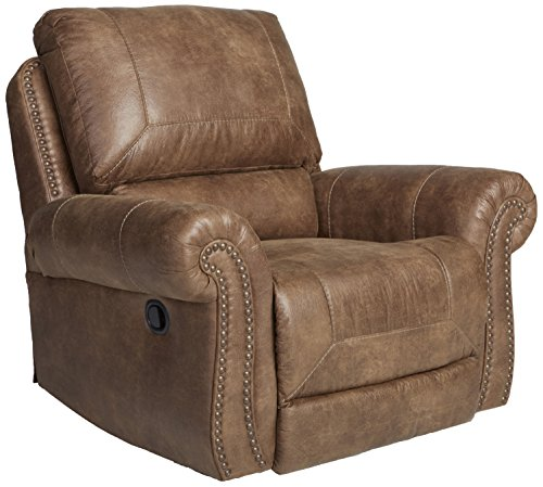 (Larkinhurst Traditional Earth Rocker Recliner with Nailhead Trim)