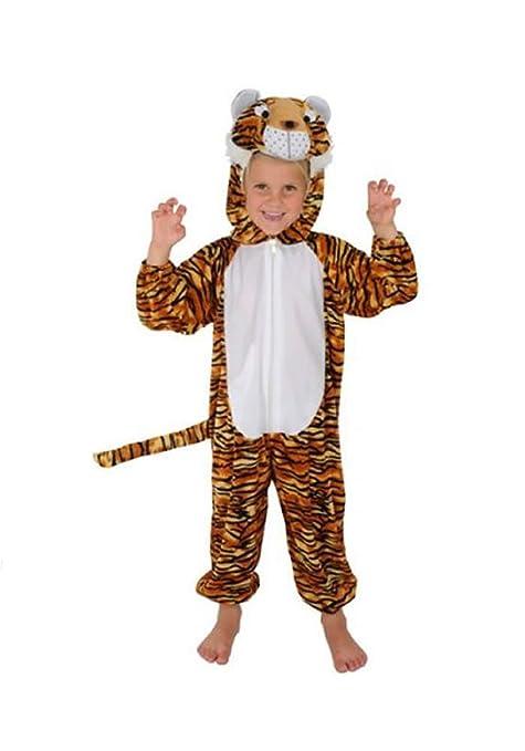 Tiger Kinder Kostüm 110 - 116 für Fasching Karneval Rummelpott Kinderkostüm