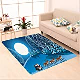 Nalahome Custom carpet ction Santa in Sleigh a Holy Night with Full Moon Snowy Winter Theme Night Before Xmas Navy Blue area rugs for Living Dining Room Bedroom Hallway Office Carpet (5' X 7')