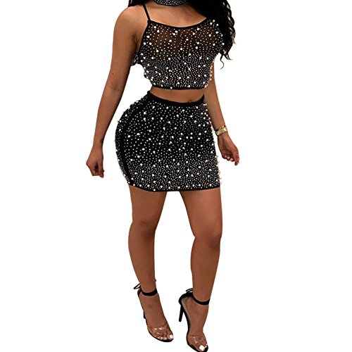 OLUOLIN Women's Sexy Sequin Studded High Neck Backless Bodycon Mini Club Dress