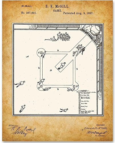 Baseball Game - 11x14 Unframed Patent Print - Great Gift for Athletes and Sports Fans