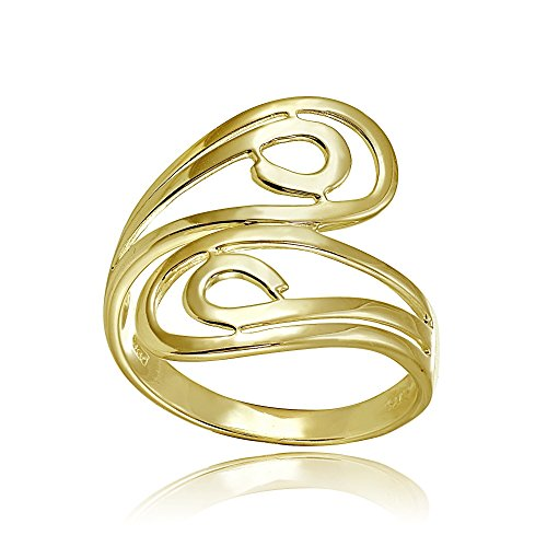 Yellow Gold Flashed Sterling Silver High Polished Open Wrap Swirl Fashion Ring, Size 7 (Open Swirl Ring)